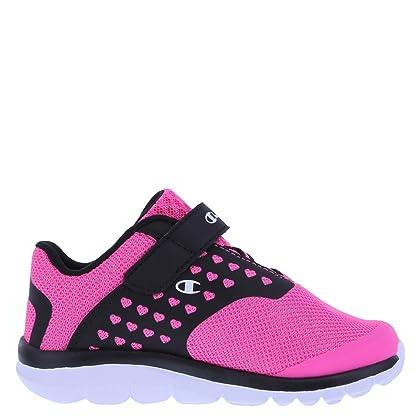5ddddaf7248553 ... Champion Girls  Pink Black Heart Mesh Girls  Toddler Strap Gusto Cross  Trainer 10 Wide ...