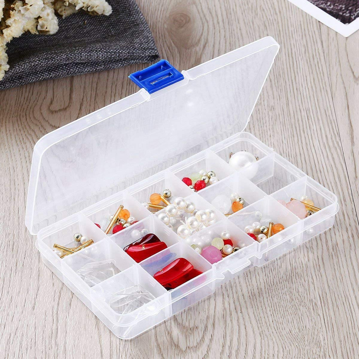 Plastic Organizer for Jewelry, Jewelry Plastic Box Organizer with Dividers, 4 Pcs