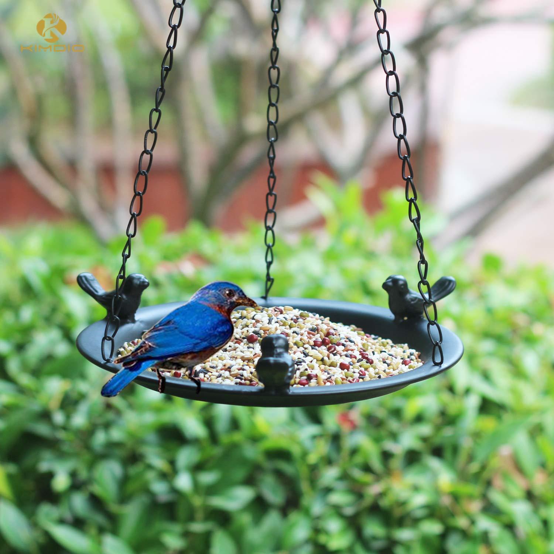 Kimdio Bird Feeder Hanging Tray, Seed Tray for Bird Feeders/Bird Bath, Outdoor Garden Backyard Decorative Great for Attracting Pet Hummingbird Feeder (Black)