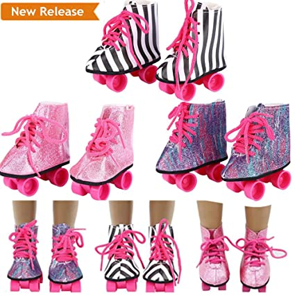 b8624356b3 debieborahtoys Glitter Doll Roller Skates Doll Shoes Straps Boots for 18  Inch Our Generation American Girl Doll