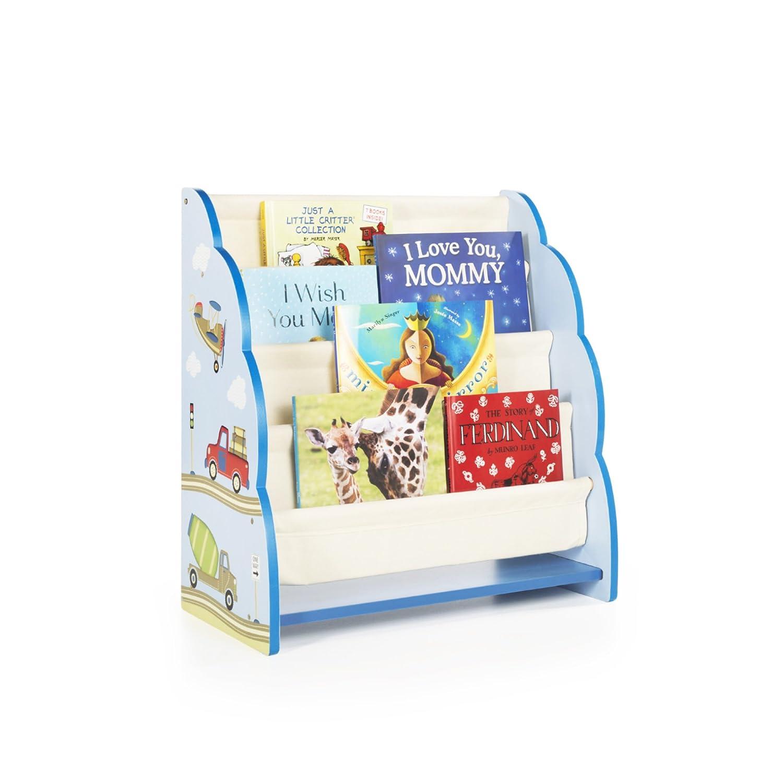 Guidecraft Wood Hand-Painted Farm Friends Book Display - Themed Sling Bookshelf, Kids Furniture Book Rack G86700