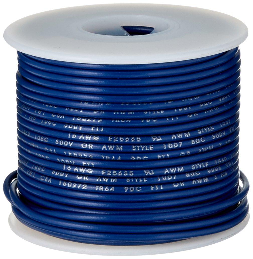 """16 AWG Gauge Stranded Hook Up Wire Blue 100 ft 0.0508/"""" UL1007 300 Volts"""