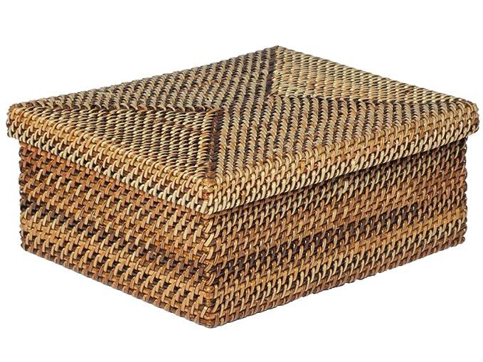 "KOUBOO""Carmel nito-rattan tejida a mano,"" caja de toallitas húmedas"