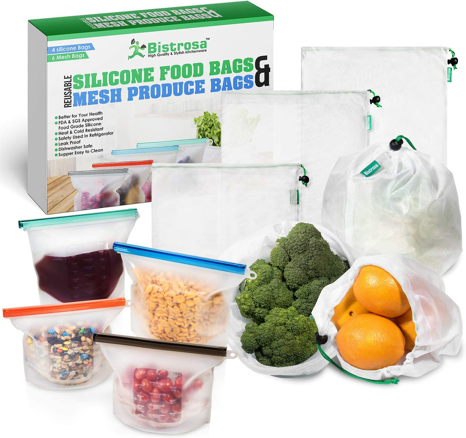 Reusable Silicone Bags (4) - With Mesh Produce Bags (6) | Eco Friendly Food Storage | Refrigerator, Freezer & Dishwasher Safe | | Airtight, Washable | Snack, Sandwich, Lunch, Leftovers, Vegetables
