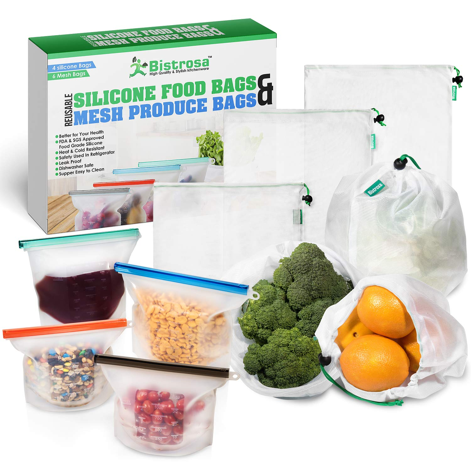 Reusable Silicone Food Bag (4,2-Large,2 Small) With Mesh Produce Bags (6) | Eco Friendly Food Storage, Sous Vide | Meal Prep | Freezer Containers Airtight Lunch Bags preserving cooking Kitchen Saver