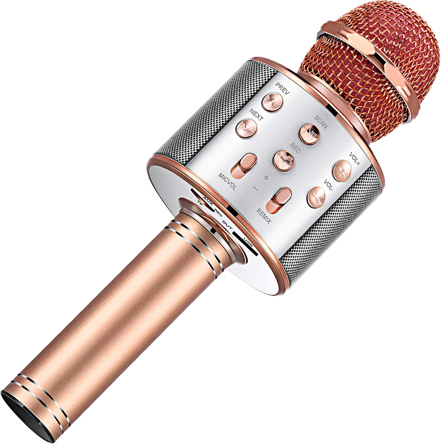 Wireless Karaoke Bluetooth Microphone Handheld Karaoke Speaker 3-in-1 Portable Microphone Christmas Birthday Home Party Supplies for Mobile Phone Laptop, Rose Gold