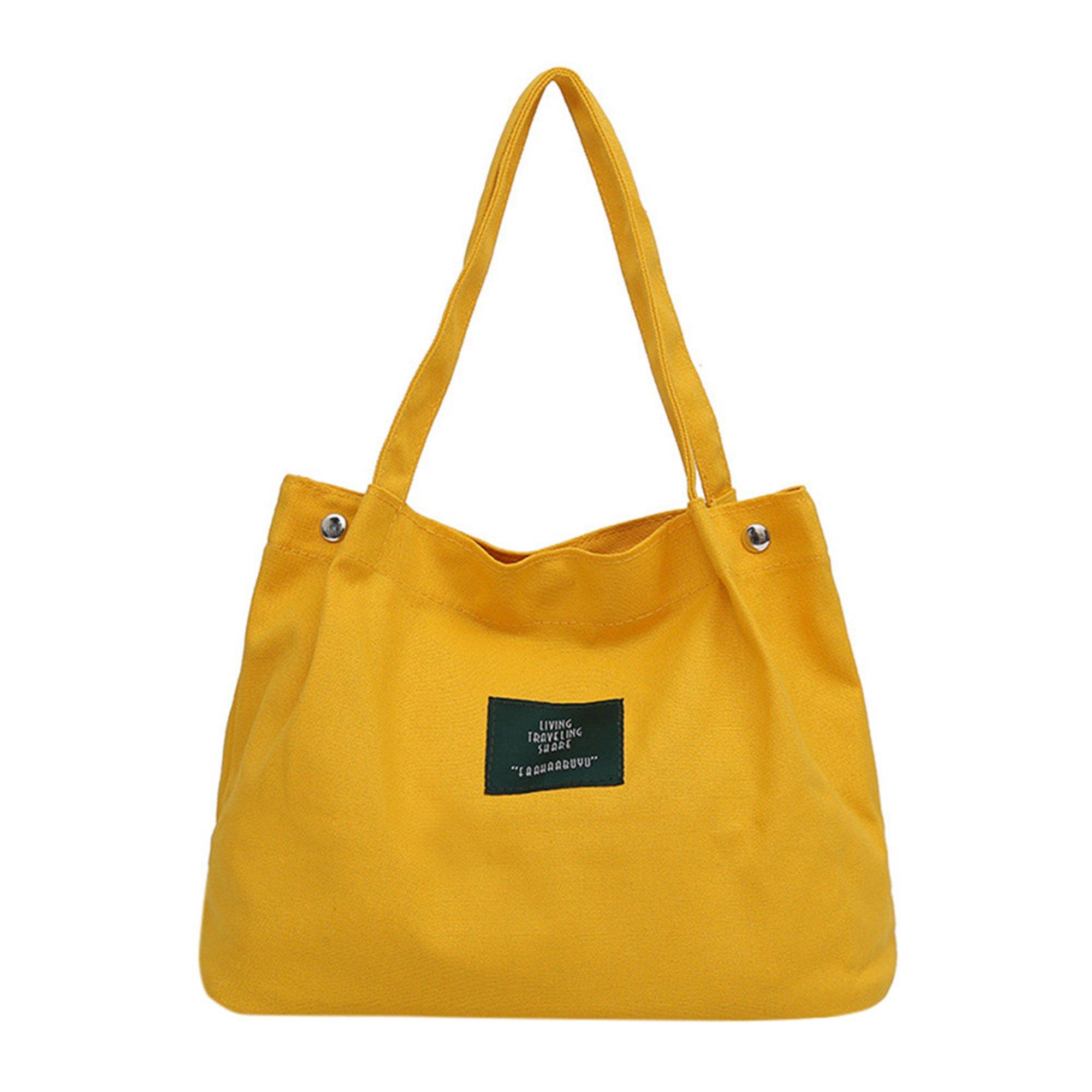 SFE-Shopping Bag,Canvas Tote,Bag Shopping Bag Tote,Clear Shopping Bag Security Work Tote Shoulder Bag Womens Handbag (Yellow)