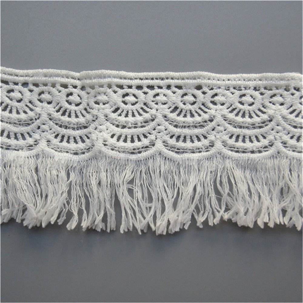 2 Yard Cotton Lace Ribbon Tassel Fringe Edging Trim Black White Trimmings Fabric Dress Extender for Sewing Craft, 3 Wide (White) 3 Wide (White) Qiuda