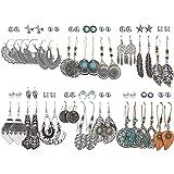 36 Pairs Fashion Vintage Drop Dangle Earrings Set for Women Girls Bohemian Silver Bronze Earrings with Hollow Leaf…