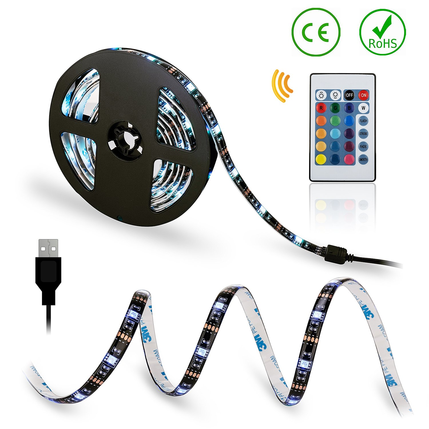 Flexible LED Light Strips Kit USB TV Backlight RGB Color with Remote Control Color Bias Lighting for HDTV Flat Screen TV Accessories Desktop Monitors PC (2 x 40-inch light bar)