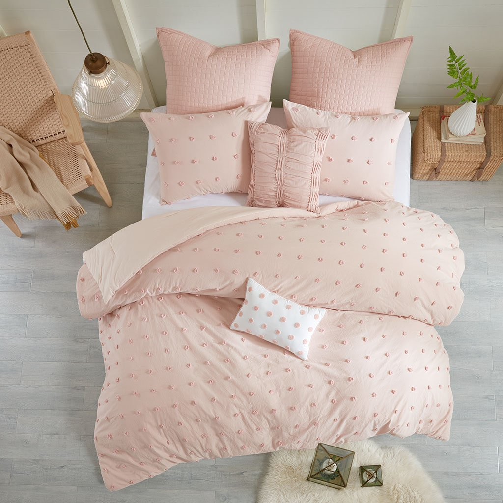 Urban Habitat Brooklyn Comforter Set Twin/Twin XL Size - Pink, Tufted Cotton Chenille Dots – 5 Piece Bed Sets – 100% Cotton Jacquard Teen Bedding for Girls Bedroom