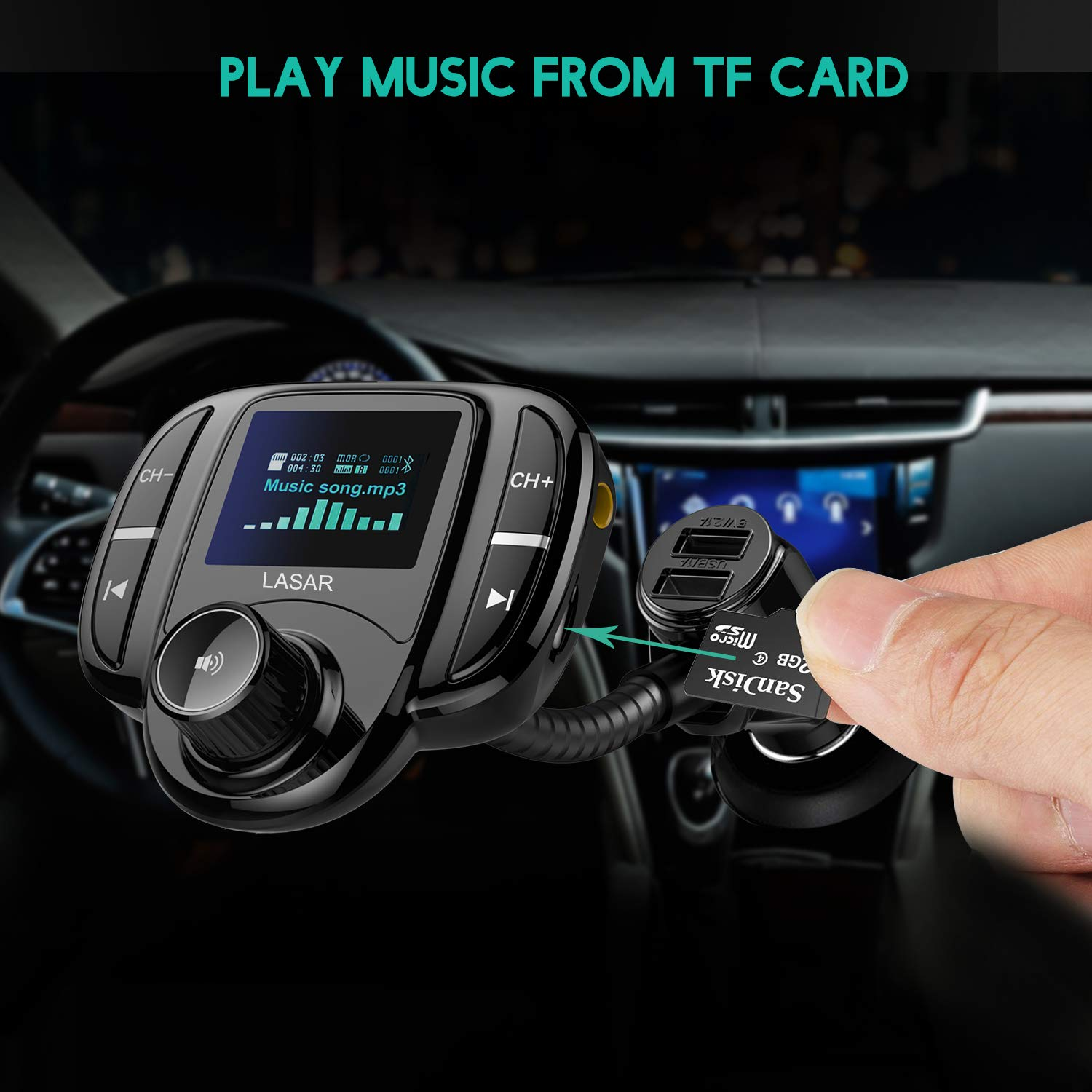 """LASAR Bluetooth FM Transmitter,Wireless Radio Adapter Hands-Free Calling Car Kit QC3.0 and Smart Dual USB Port W 1.7"""" Display, Support USB Drive,AUX Input/Output, TF Card MP3 Player by LASAR (Image #3)"""
