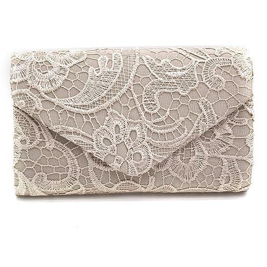 db56cac33e SABARRY Floral Evening Clutch Bag Satin Bridal Handbags Ladies Wedding  Pleated Lace Envelope Prom Handbag (