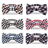 Baby Boys Toddler Plaid Bow Tie With Adjustable Neck Strap Kids Bowtie Set of 6