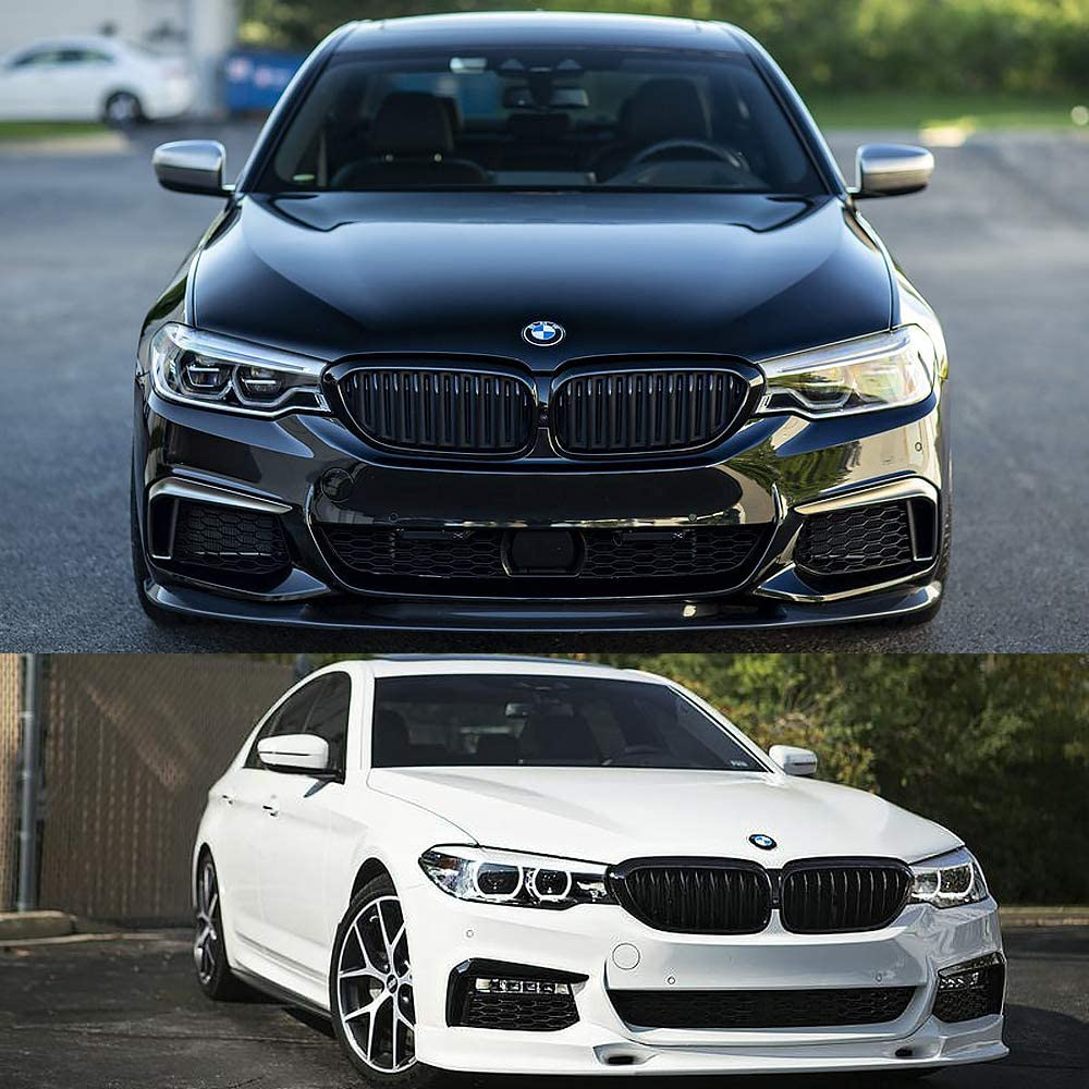 Front Kidney Grill Compatible for 2017-2020 BMW 5 Series G30 ABS Double Slats Gloss Black Grills, 2-pc Set SNA M Color G30 Grille