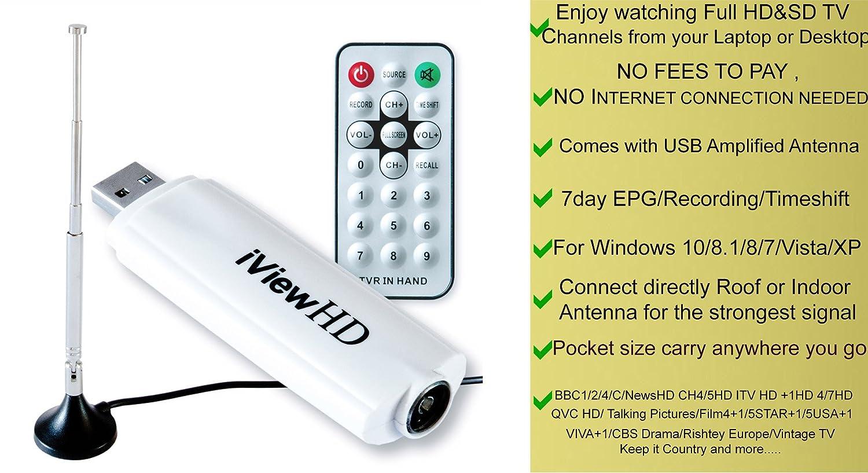 per computer fissi e portatili chiavetta WinTV per una TV ad a scheda TV esterna digitale terrestre DVB-T2 stile videoregistrazione digitale PVR iView HD chiavetta sintonizzatore TV digitale in Full HD 1080p con registrazione avanzata di programmi