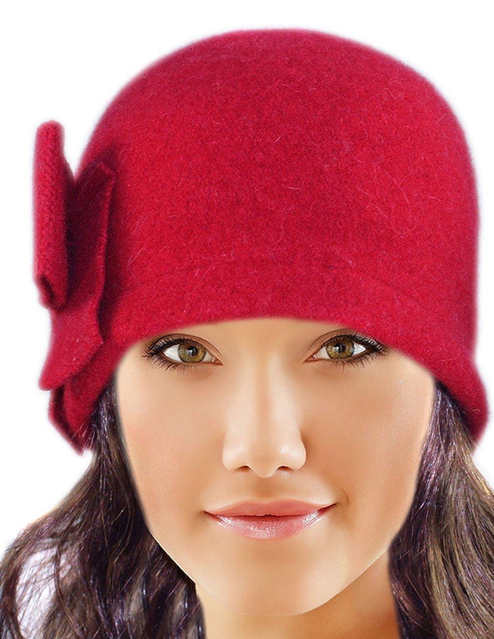 00e7c9e208ad5 Dahlia Women s Daisy Flower Wool Cloche Bucket Hat HT0014WLW-BK larger image