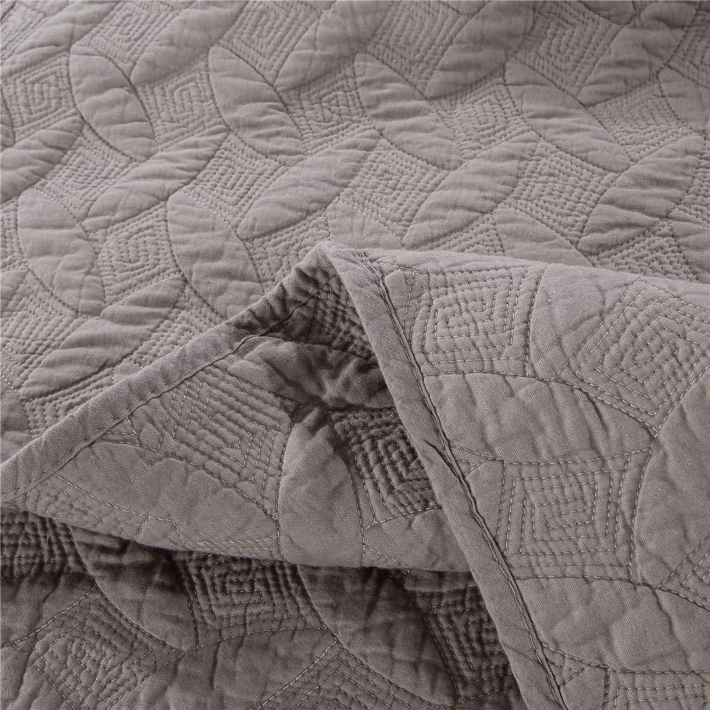ACJIA FutonesFloral Bordada Remiendo de la Colcha 100/% algod/ón 3 Piezas Juego de Cama de Manchas y Resistente a la decoloraci/ón Ligera,Caqui,230 250cm