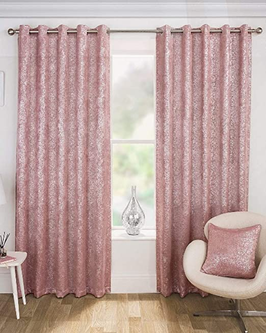 "Maple Textiles Pale Pink Blush Silver Sparkles Light Blockout Eyelet Ring  Top Curtains (66"" x 72""): Amazon.co.uk: Kitchen & Home"