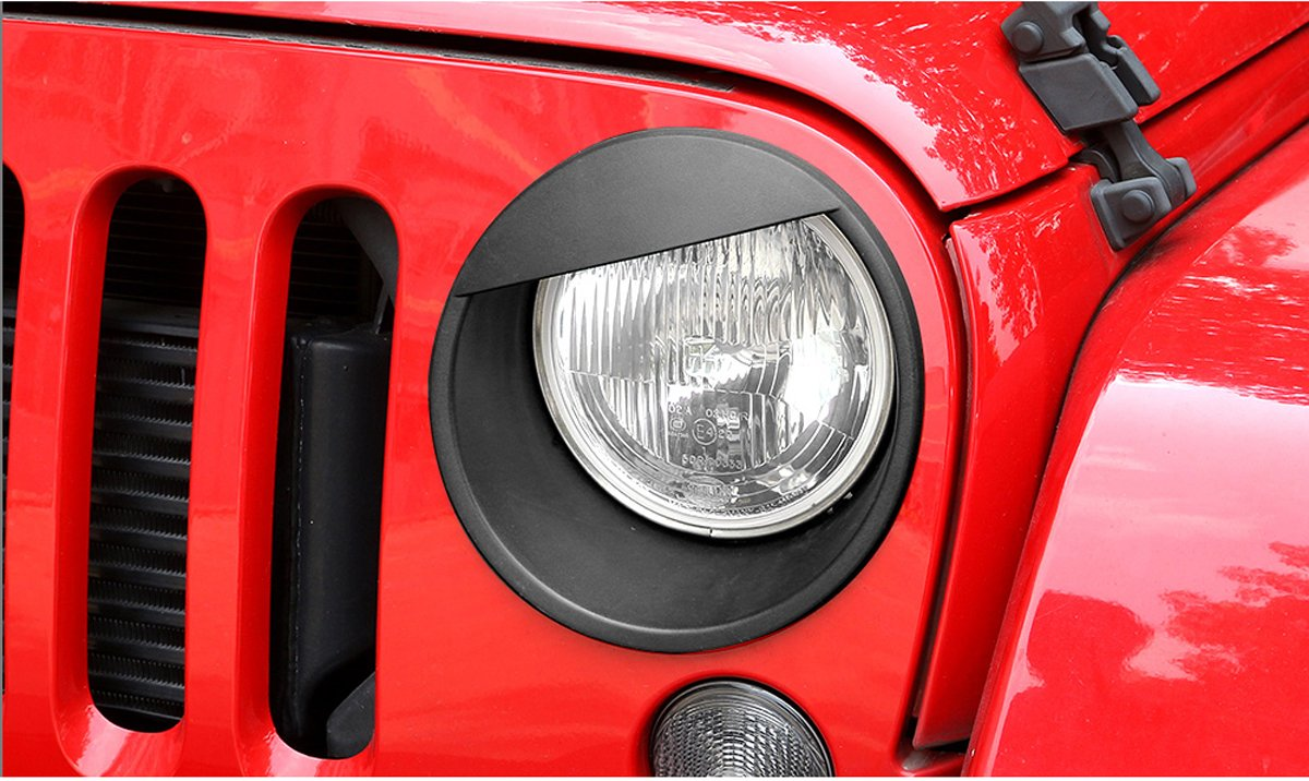 1 Pair MOEBULB Upgrade Clip in Black Angry Bird Headlight Cover Bezels Guard for 2007-2017 Jeep Wrangler JK /& Unlimited