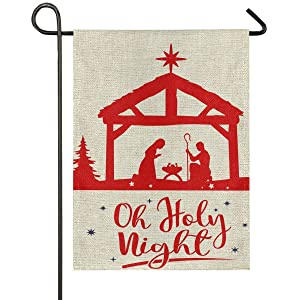 Oh Holy Night Nativity Burlap Garden Flag 12 x 18 Double Sided Traditional Christams House Yard Flags Religious Winter Holiday Rustic Outdoor Banner Home Xmas Decor