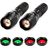 ULTRAFIRE A100 3-Color-Light Tactical 18650 Flashlight, xml-t6 800 Lumen Small led Torch, 2 Pack