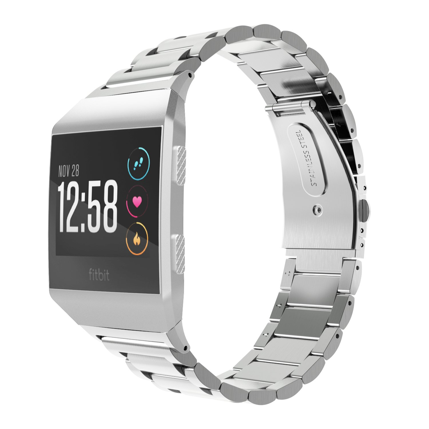 MoKo Fitbit Ionic Watch Band, Premium Solid Stainless Steel Metal Replacement Bracelet Strap Wristband with Connector for Fitbit Ionic Smart Watch, Wrist Length 5.31''-8.07''(135mm-205mm) - Silver