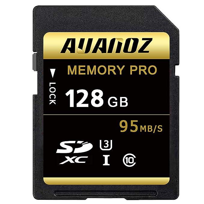 Auanoz Tarjeta SD de 128 GB SDXC Clase 10 UHS-I Tarjeta De Memoria De Alta Velocidad para Teléfono, Tableta y PC - con Adaptador.(Negro/Oro-128gb)