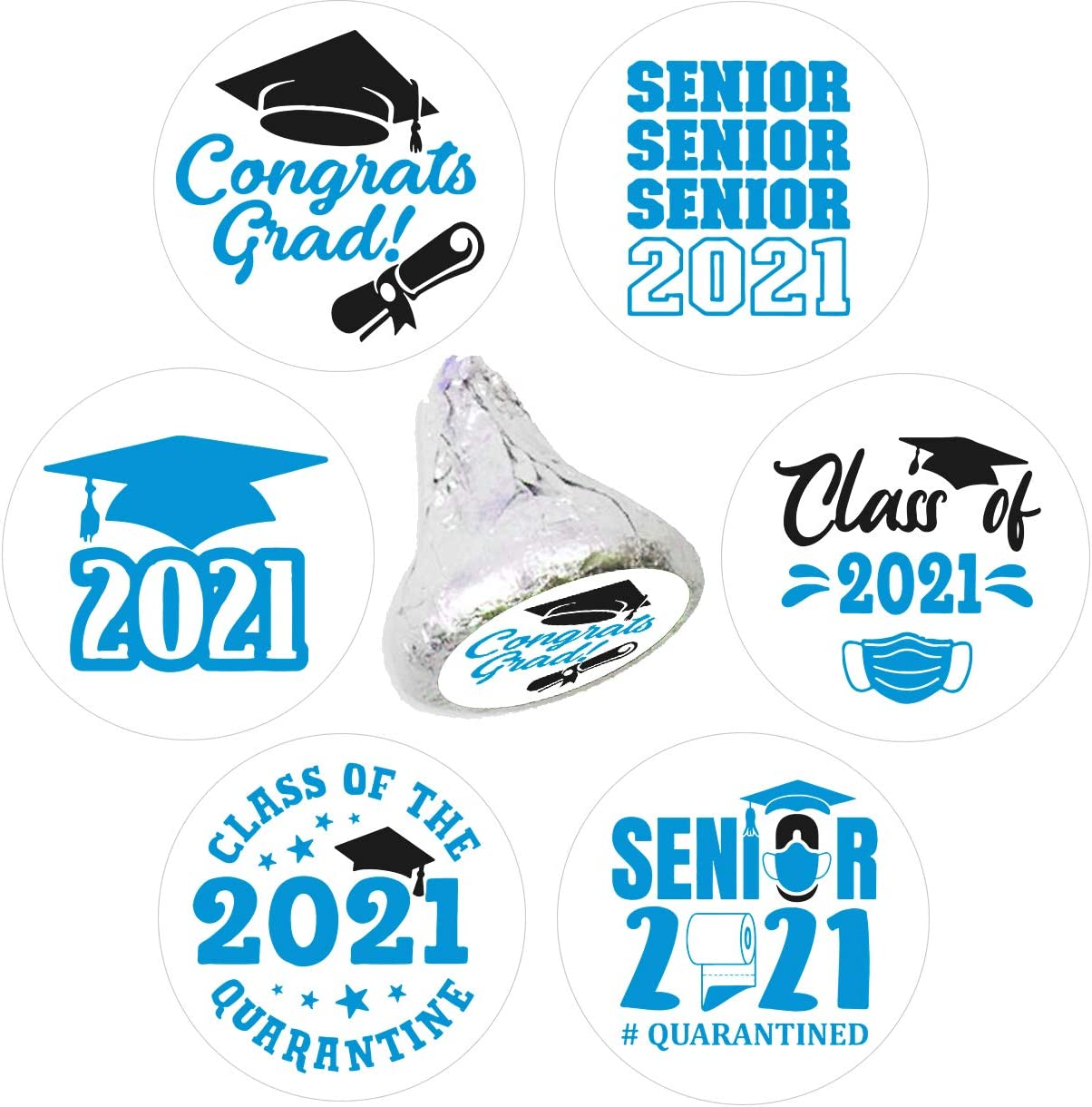 Class of 2021 Graduation Party Chocolate Stickers Labels-Graduation Party Decorations-270 Stickers(by-12)