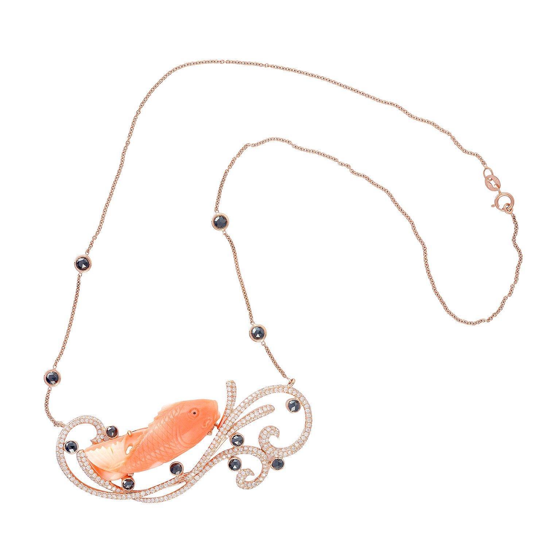18K Yellow Gold Choker Necklace Coral and Black Diamond Figure Fish Jewelry