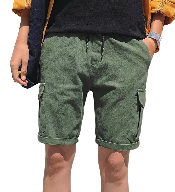 Fubotevic Women High Waist Basic Belted Bermuda Striped Wide Leg Short Pants