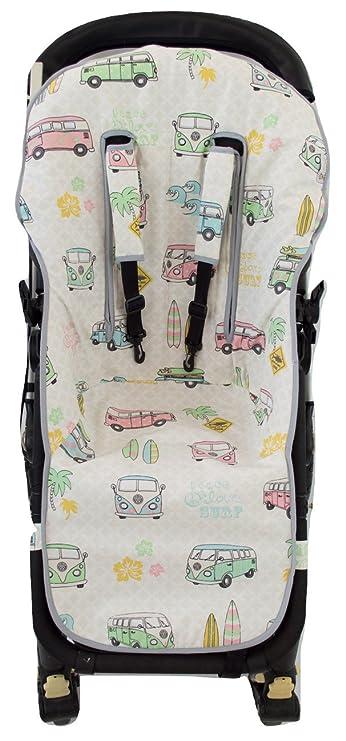 Borda y más AMZ8803 - Colchoneta bugaboo y protector arnés silla paseo, color flores turquesa