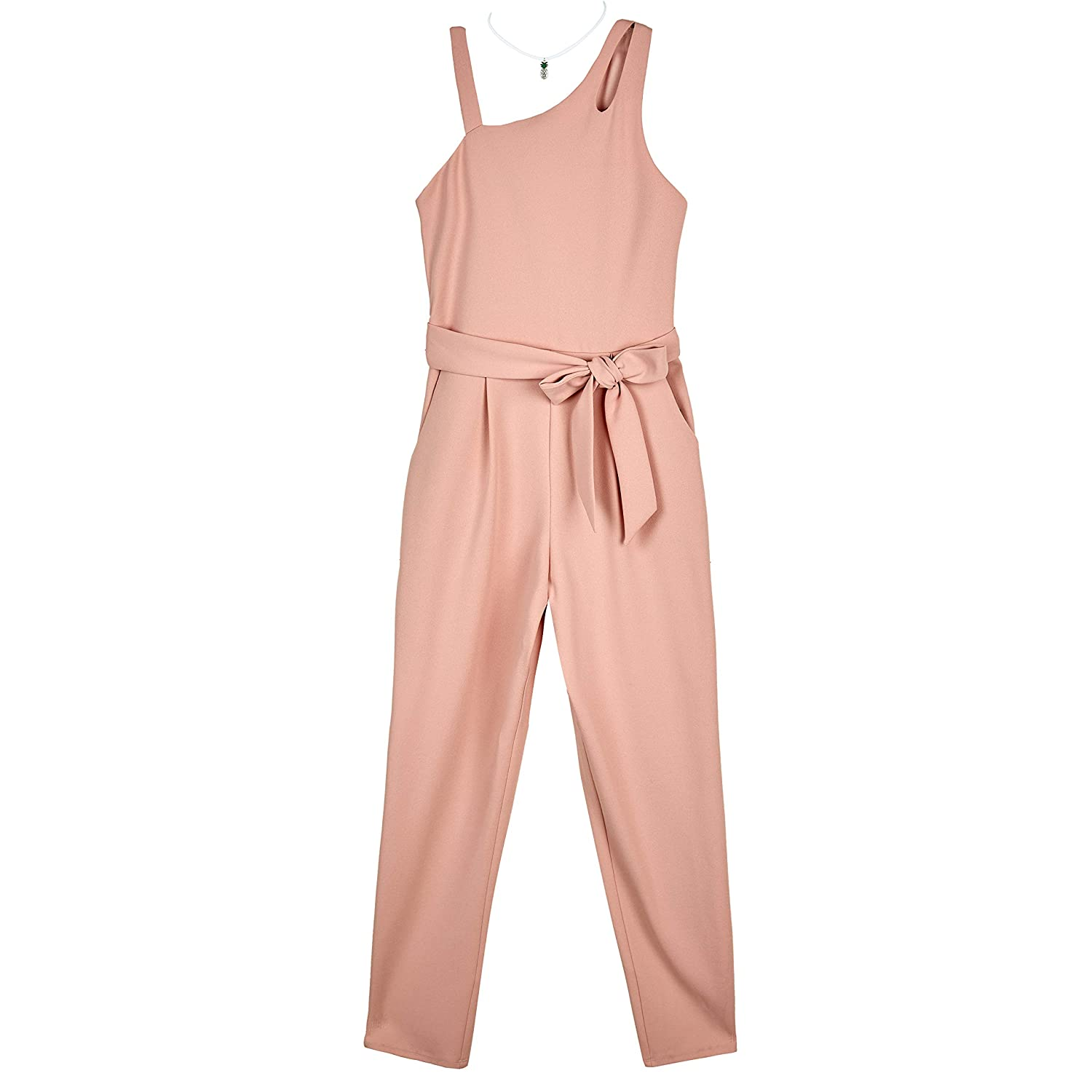 Amy Byer Girls One Shoulder Jumpsuit