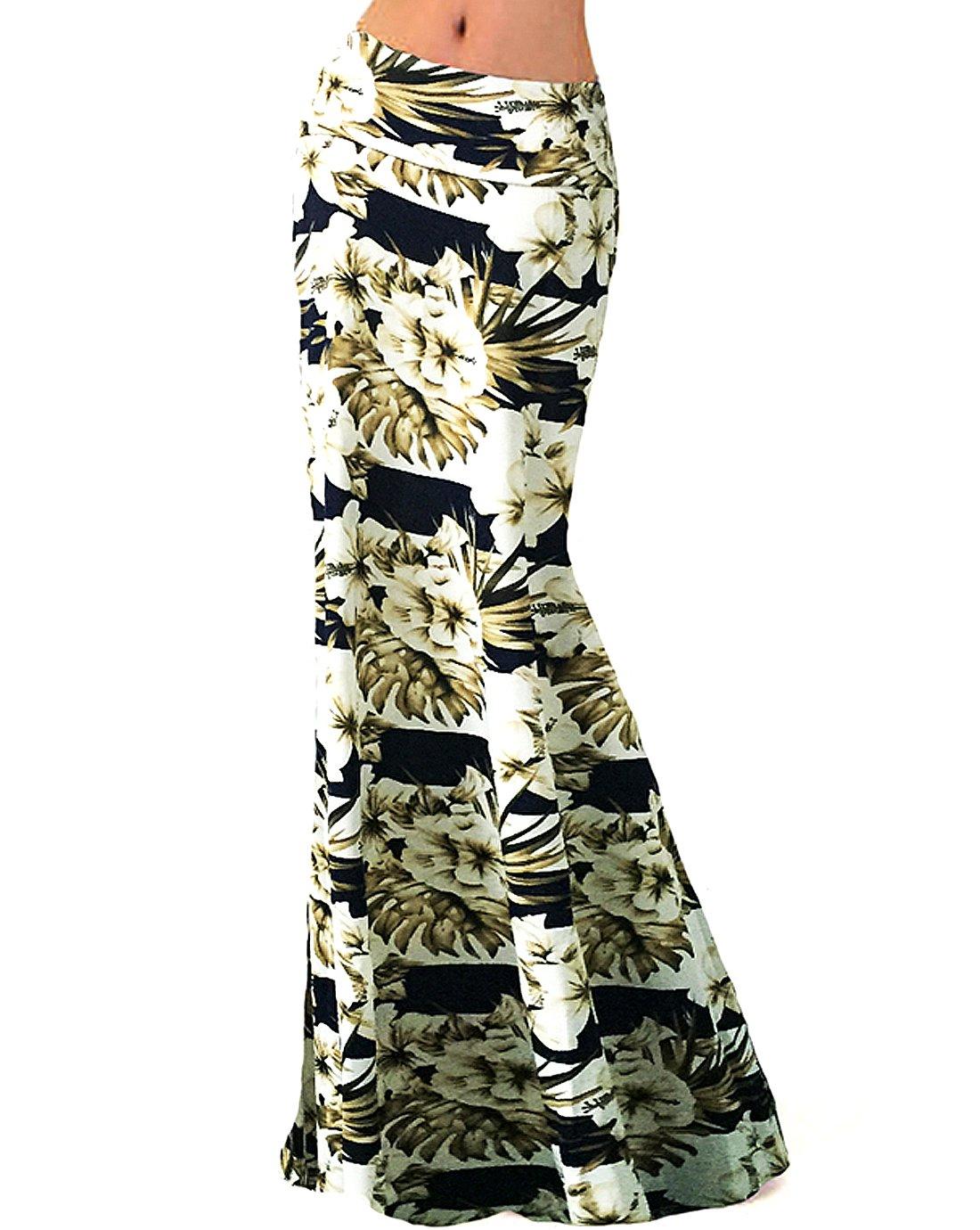 Editha Floral Print Maxi Long Skirt High Waist Floor Length Skirt Full Skirt Summer Beach Skirts 103 White Flower M