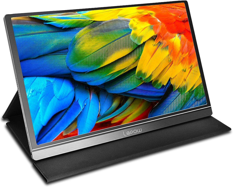 Lepow モバイルモニター モバイルディスプレイ 15.6インチ IPS液晶パネル 1920x1080FHD 非光沢 ノングレア 9mm薄型 軽量ノートパソコン・デスクトップ・スマホ・ゲーム機・Apple Mac(thunderbolt 3)・Nintendo Switch・PS4・PS5・ラズパイ・XBOX ONE・Wiiなど対応 USB Type-C/mini HDMI/カバー兼スタンド付 テレワーク リモートワーク 在宅勤務 日本語ガイドブック付き 3年保証 PSE認証済み