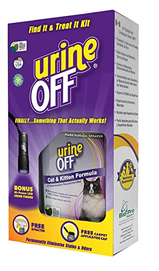 Amazon.com : urineOFF Cat & Kitten Stain and Odor Remover with Carpet Applicator Cap Shrink Wrap, 16.9 Ounce : Pet Supplies