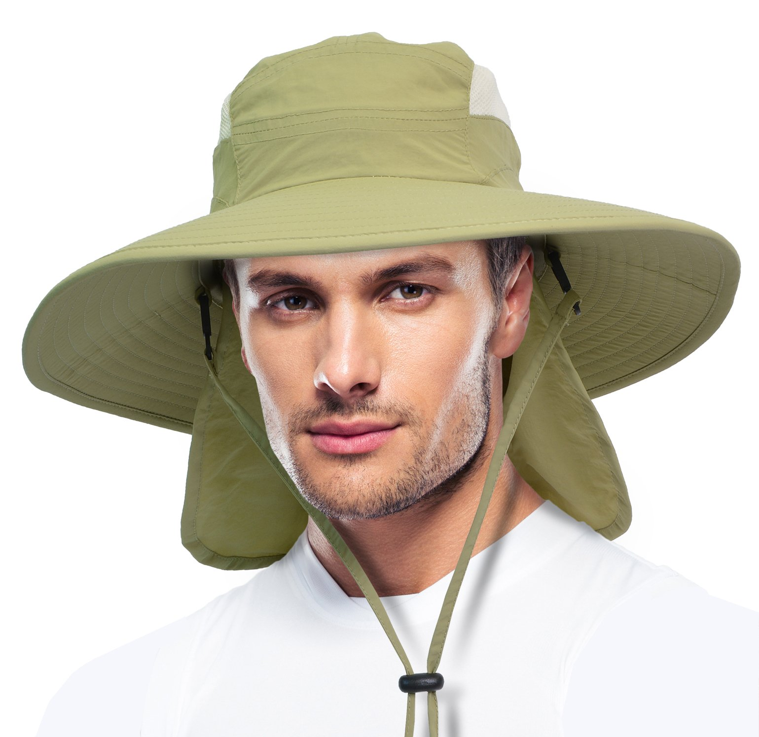 Solaris Fishing Cap UV Sun Protection Wide Brim Hat with Removable Bill Neck Flap for Men Women Safari Hiking Hunting Boating Camping and Outdoor Adventures