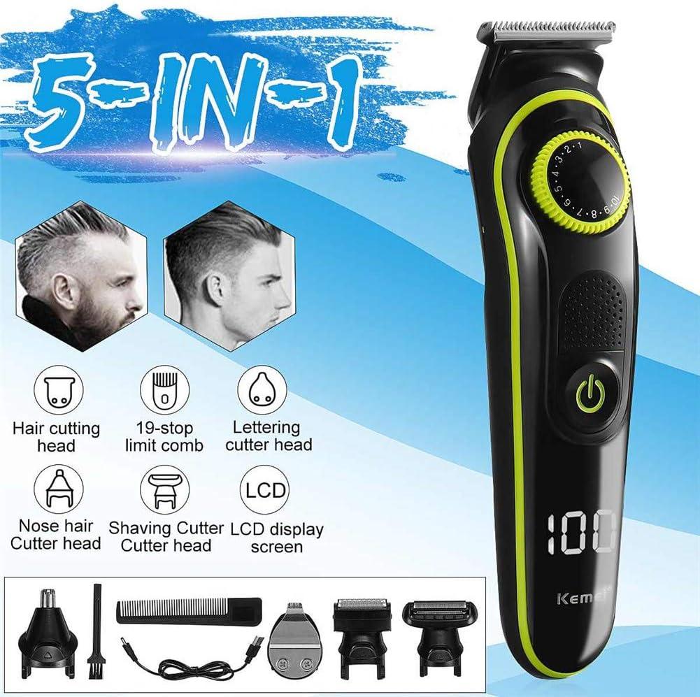 Cortar el pelo Casa Eléctrico Cortador de pelo Multifuncional USB recargable Maquinilla de afeitar Pantalla LED 5 en 1 Cabezas de corte: Amazon.es: Belleza