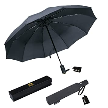 a955017064b9 ROTERDON Compact Travel Umbrella - Windproof Automatic Umbrellas with  Teflon Coating (Black)