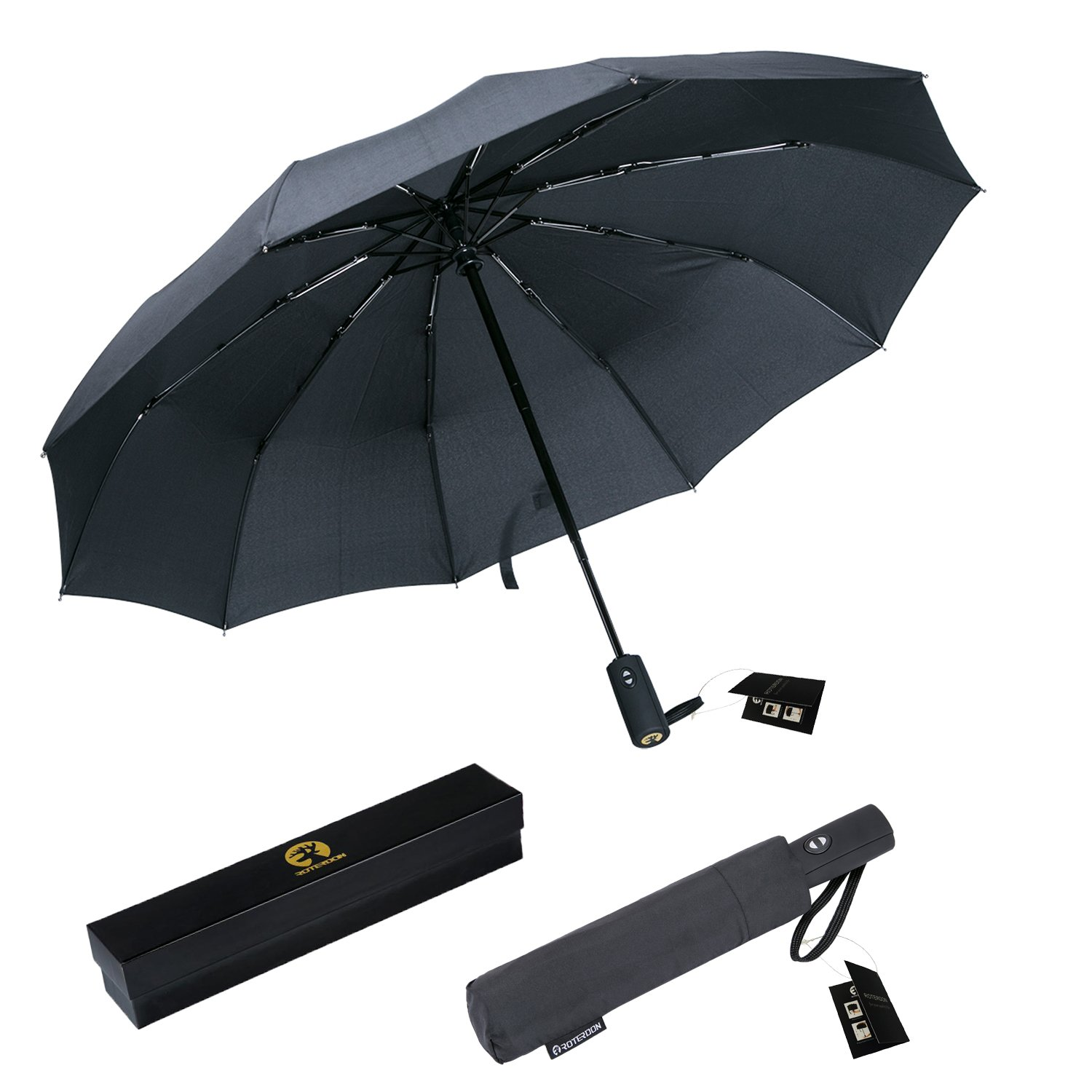 ROTERDON Windproof Travel Umbrellas Automatic Open&Close Resistant Teflon Canopy or Gift Choice (Black)