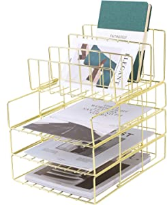 Hosaken Paper Tray, 3-Tier Stackable File Trays Plus Letter Holder, Wire Desk Organizer Document Shelf for Home and Office Supplies, Gold