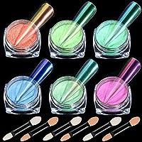 Ice Transparent Aurora Nail Powder, KISSBUTY 6 Colors Jelly Neon Rainbow Holographic Chameleon Powder Multi Chrome Nails…