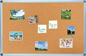 BIBOC Cork Bulletin Board,Felt Board, Pin Board, Notice Board, Memo Board for Homes or Offices,18 X 24 Inches, Silver Aluminium Frame