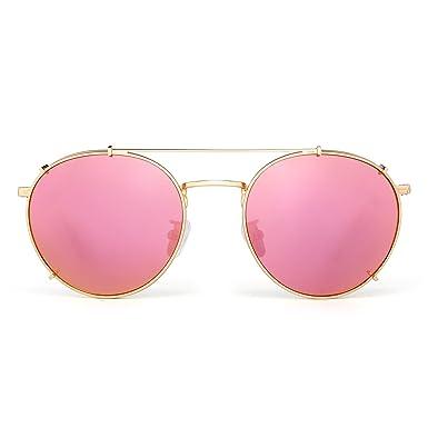 Retro Runden Polarisiert Sonnenbrille Clip an Flach Spiegel Brillen Dame Herre(Silber/Grau) 7pyuVP