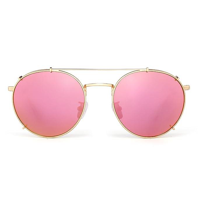 JIM HALO Gafas de Sol Redondas Retro Polarizadas Clip en Planas Anteojos de Espejo Hombre Mujer