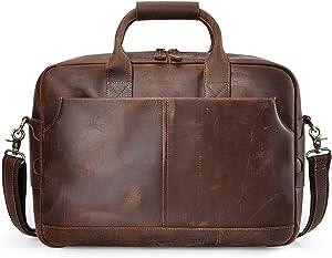 S-ZONE Genuine Leather Briefcase Messenger Bag Mens 17 inch Laptop Bag Shoulder Crossbody Bag