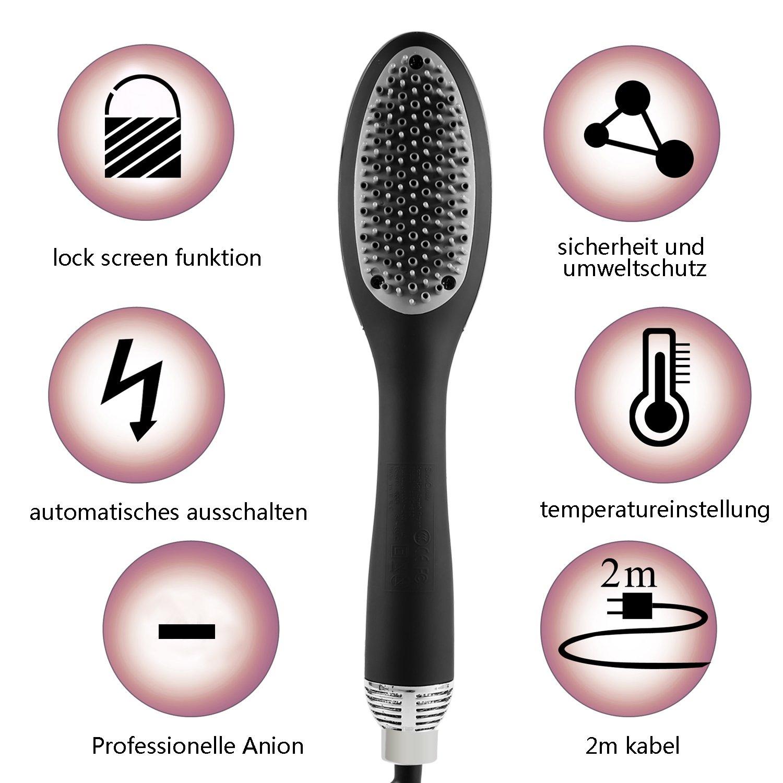 acevivi Ion de cepillo de pelo cepillo de aire caliente alisador de cabello LCD con temperatura - , color negro: Amazon.es: Belleza