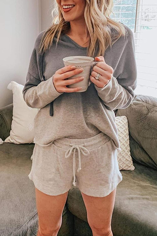 Cyenaly Womens Tie Dye Lounge Sweatshirt Short Set Pajamas Set S-2XL