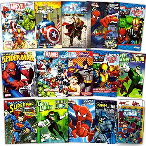Superhero Ultimate Coloring Book Assortment ~ 15 Books Featuring Avengers, Spiderman, Justice League, Batman and More (Includes -