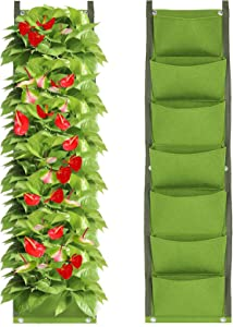 IWNTWY 7 Pockets Vertical Hanging Grow Bag, Wall Mount Garden Planter Bags for Indoor Outdoor Yard Balcony Planting Strawberries Flower Herbs Succulents Plants (Green)